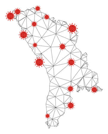 Polygonal mesh Moldova map with coronavirus centers. Abstract network connected lines and covid viruses form Moldova map. Vector wire frame flat polygonal network in black and red colors. Vectores