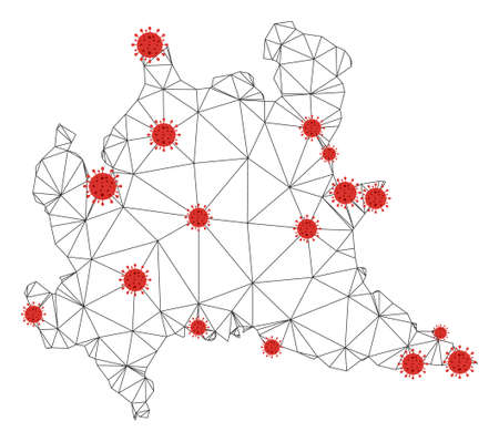 Polygonal mesh Lombardy region map with coronavirus centers. Abstract mesh connected lines and covid viruses form Lombardy region map. Vector wireframe flat polygonal network in black and red colors.