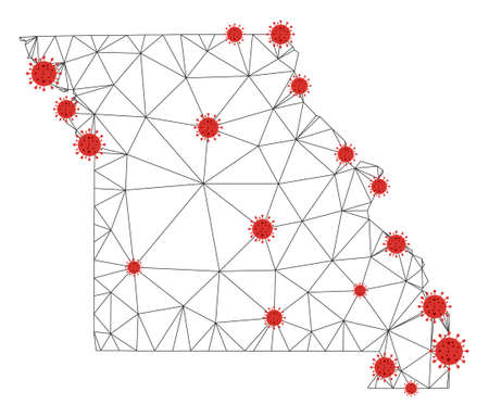 Polygonal mesh Missouri State map with coronavirus centers. Abstract mesh connected lines and flu viruses form Missouri State map. Vector wire frame 2D polygonal network in black and red colors.