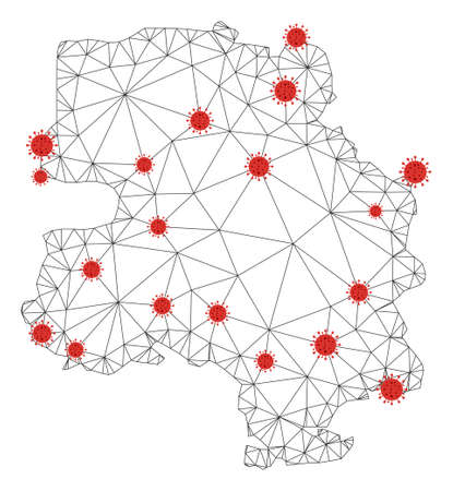 Polygonal mesh New Delhi City map with coronavirus centers. Abstract network connected lines and covid viruses form New Delhi City map. Vector wireframe 2D polygonal network in black and red colors. Vector Illustration