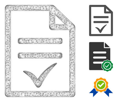 Mesh agreement document polygonal web 2d vector illustration. Carcass model is based on agreement document flat icon. Triangle mesh forms abstract agreement document flat carcass.