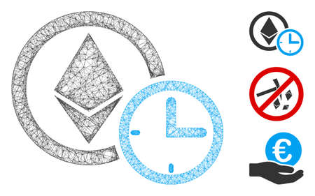 Mesh Ethereum credit clock polygonal web icon vector illustration. Model is based on Ethereum credit clock flat icon. Triangle net forms abstract Ethereum credit clock flat model. Vettoriali