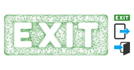 Mesh exit label polygonal web symbol vector illustration. Model is based on exit label flat icon. Triangle network forms abstract exit label flat model.