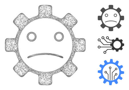 Mesh service gear sad smiley polygonal web 2d vector illustration. Model is based on service gear sad smiley flat icon. Triangular network forms abstract service gear sad smiley flat model. Иллюстрация
