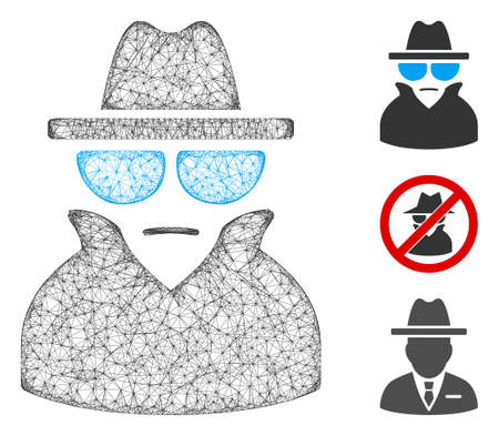 Mesh spy polygonal web 2d vector illustration. Carcass model is based on spy flat icon. Triangle mesh forms abstract spy flat model. wireframe 2D polygonal web network isolated on a white background.