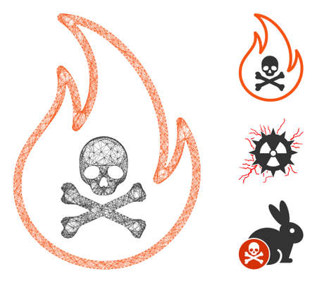 Mesh toxic fire polygonal web icon vector illustration. Carcass model is based on toxic fire flat icon. Triangle mesh forms abstract toxic fire flat model.