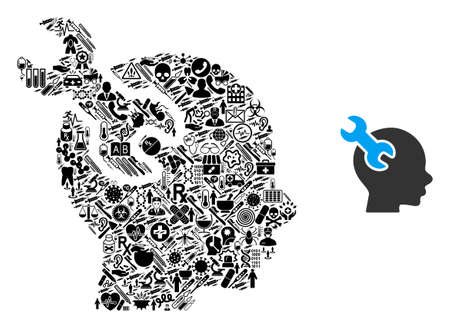 Mosaic brain service wrench from health care icons and basic icon. Mosaic vector brain service wrench is created from health care items. Flat design elements for doctor wallpapers.