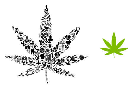 Mosaic cannabis with health icons and basic icon. Mosaic vector cannabis is created with health symbols. Abstract illustrations elements for pandemic advertisement.