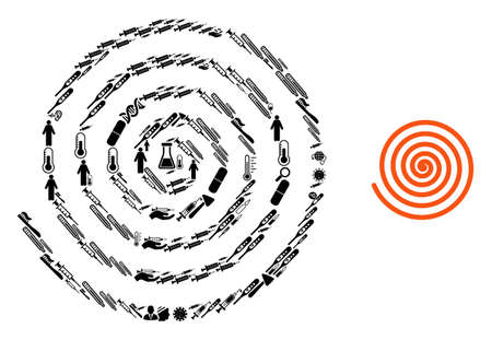 Mosaic hypnosis from health care items and basic icon. Mosaic vector hypnosis is created from health items. Abstract illustrations elements for doctor posters. Illustration