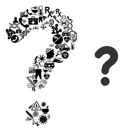 Mosaic question from medical symbols and basic icon. Mosaic vector question is created from medic symbols. Flat illustrations elements for hospital wallpapers. Vecteurs