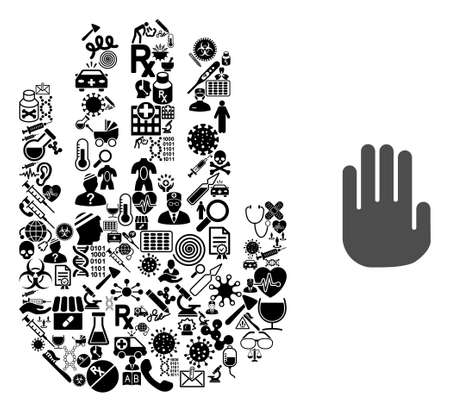 Mosaic stop hand of health icons and basic icon. Mosaic vector stop hand is composed with health care symbols. Abstract illustrations elements for pandemic wallpapers.