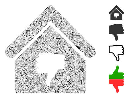 Linear mosaic thumb down building icon united from straight items in random sizes and color hues. Linear items are organized into abstract vector collage thumb down building icon. Ilustrace