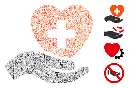 Linear mosaic hand offer cardiology icon constructed from thin items in random sizes and color hues. Linear items are composed into abstract vector illustration hand offer cardiology icon.