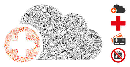 Hatch mosaic create cloud icon designed from thin items in variable sizes and color hues. Line items are united into abstract vector collage create cloud icon. Bonus icons are placed.