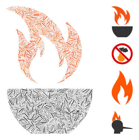 Linear mosaic fire bowl icon organized from thin elements in different sizes and color hues. Linear items are grouped into abstract vector mosaic fire bowl icon. Bonus pictograms are added.