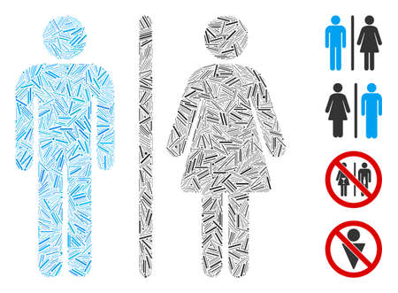 Linear collage toilet persons icon united from thin items in random sizes and color hues. Linear parts are grouped into abstract vector collage toilet persons icon. Bonus pictograms are added.