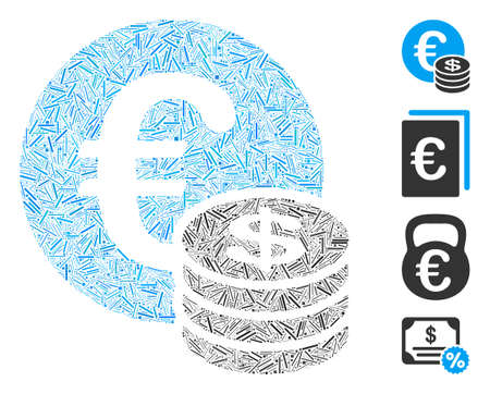 Line mosaic Euro and Dollar coins icon designed from thin items in variable sizes and color hues. Line items are combined into abstract vector mosaic Euro and Dollar coins icon.