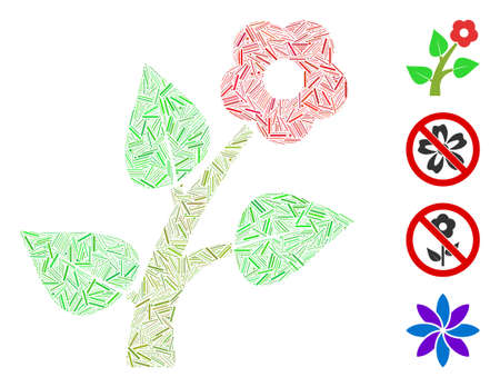 Hatch collage flower plant icon composed of thin items in different sizes and color hues. Irregular hatch items are organized into abstract vector collage flower plant icon.