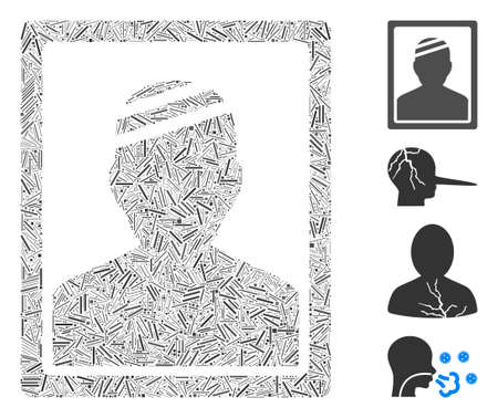 Line mosaic patient photo icon composed of straight items in random sizes and color hues. Irregular hatch items are composed into abstract vector collage patient photo icon. Bonus icons are added.