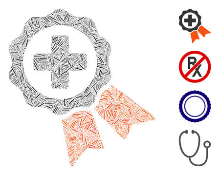 Hatch collage medical stamp icon composed of narrow items in random sizes and color hues. Line items are composed into abstract vector mosaic medical stamp icon. Bonus icons are placed.