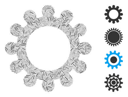 Hatch collage cog icon designed from straight items in variable sizes and color hues. Line items are grouped into abstract vector collage cog icon. Bonus icons are placed. Ilustração