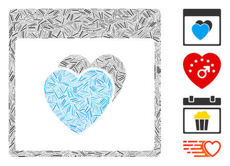 Line mosaic hearts calendar page icon united from narrow elements in different sizes and color hues. Line elements are combined into abstract vector collage hearts calendar page icon.