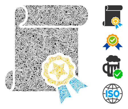 Linear collage certificate icon designed from straight elements in variable sizes and color hues. Linear elements are united into abstract vector mosaic certificate icon. Bonus icons are placed.