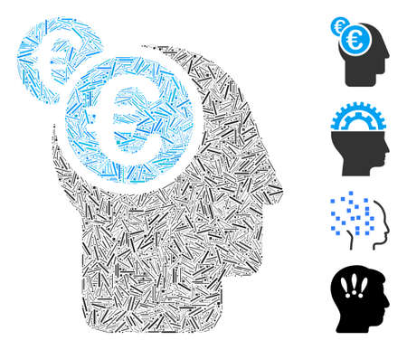 Linear mosaic Euro businessman intellect icon united from thin elements in variable sizes and color hues. Linear items are grouped into abstract vector mosaic Euro businessman intellect icon. Ilustração
