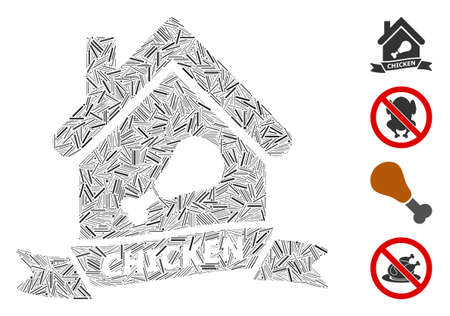 Hatch collage chicken cafe icon organized from straight items in random sizes and color hues. Linear items are organized into abstract vector collage chicken cafe icon. Bonus pictograms are placed.