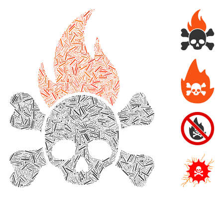 Line collage death fire icon organized from narrow items in variable sizes and color hues. Irregular hatch items are united into abstract vector collage death fire icon. Bonus icons are added. 矢量图像