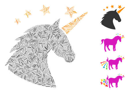 Linear collage unicorn head icon united from narrow elements in random sizes and color hues. Linear elements are composed into abstract vector mosaic unicorn head icon. Bonus pictograms are added.