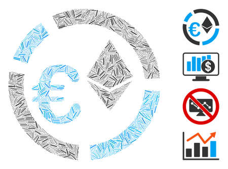 Line mosaic Euro Ethereum diagram icon organized from thin items in different sizes and color hues. Linear elements are organized into abstract vector mosaic Euro Ethereum diagram icon.