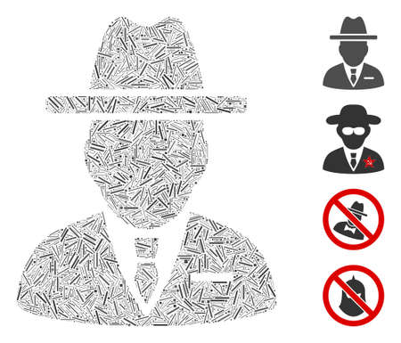 Hatch collage spy person icon united from narrow items in variable sizes and color hues. Irregular hatch parts are arranged into abstract vector collage spy person icon. Bonus pictograms are placed.