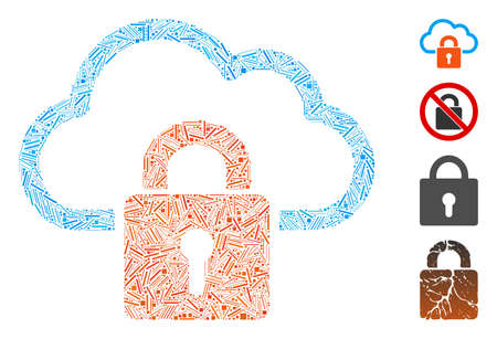 Line collage cloud locked icon constructed from thin items in various sizes and color hues. Line elements are united into abstract vector collage cloud locked icon. Bonus icons are added.