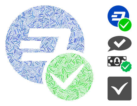 Line collage valid Dashcoin icon organized from straight items in variable sizes and color hues. Line parts are combined into abstract vector collage valid Dashcoin icon. Bonus pictograms are placed.