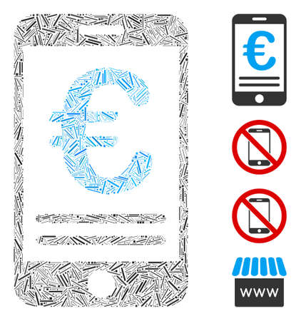 Linear collage Euro mobile banking icon organized from thin elements in different sizes and color hues. Ilustração