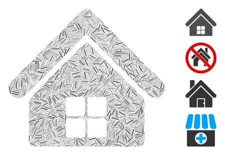 Line mosaic home icon united from thin items in different sizes and color hues. Line elements are united into abstract vector mosaic home icon. Bonus pictograms are placed. 向量圖像