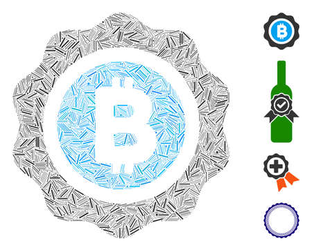 Hatch collage Bitcoin seal icon composed of narrow elements in various sizes and color hues. Irregular hatch elements are grouped into abstract vector illustration Bitcoin seal icon. Ilustração