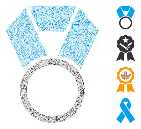 Linear mosaic place medal template icon designed from narrow elements in different sizes and color hues. Linear parts are combined into abstract vector mosaic place medal template icon.
