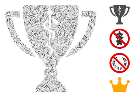 Linear mosaic medical award cup icon organized from straight elements in variable sizes and color hues. Linear elements are composed into abstract vector composition medical award cup icon.