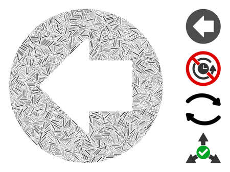 Hatch mosaic previous arrow icon organized from straight items in various sizes and color hues. Linear items are organized into abstract vector illustration previous arrow icon. Bonus icons are added.