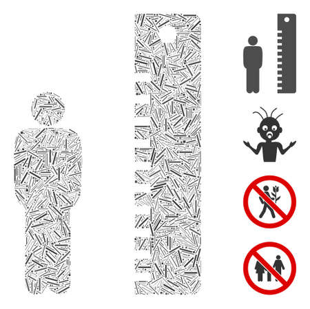 Line mosaic man height icon organized from straight items in variable sizes and color hues. Line items are organized into abstract vector collage man height icon. Bonus icons are placed.