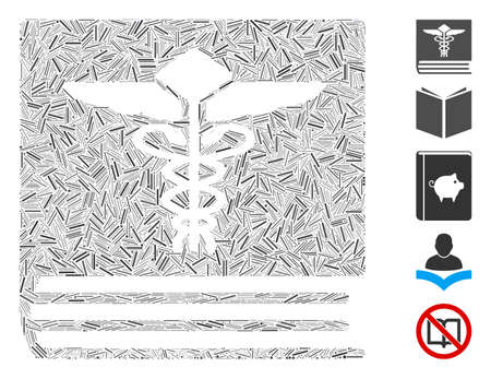 Dash Mosaic based on medical book icon. Mosaic vector medical book is designed with scattered dash dots. Bonus icons are added.
