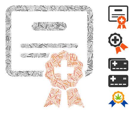 Line Mosaic based on medical certification icon. Mosaic vector medical certification is formed with random line items. Bonus icons are added.