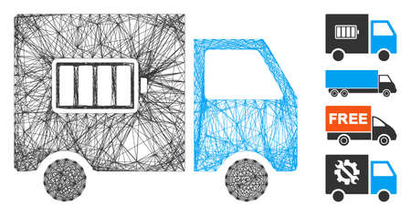 Vector wire frame battery delivery truck. Geometric wire frame flat network made from battery delivery truck icon, designed from crossing lines. Some bonus icons are added. Vektoros illusztráció