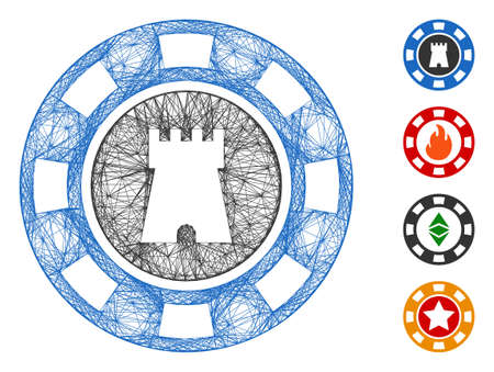 Vector network bulwark casino chip. Geometric hatched carcass flat network made from bulwark casino chip icon, designed from crossing lines. Some bonus icons are added. Vettoriali