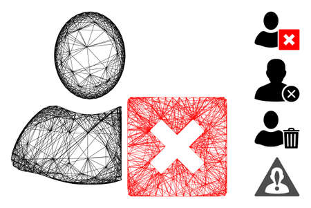 Vector network close user. Geometric wire frame 2D network generated with close user icon, designed with crossing lines. Some bonus icons are added.