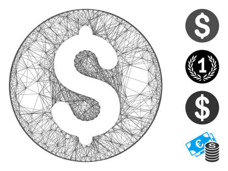 Vector wire frame coin. Geometric hatched frame flat net made from coin icon, designed from crossing lines. Some bonus icons are added. Иллюстрация
