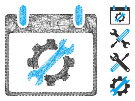 Vector wire frame configuration tools calendar day. Geometric linear frame 2D net generated with configuration tools calendar day icon, designed with crossed lines. Some bonus icons are added.