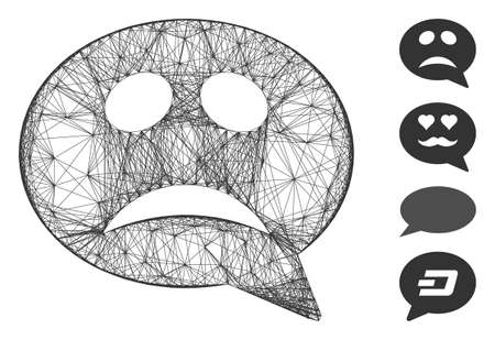 Vector wire frame crisis smiley message. Geometric wire carcass 2D network made from crisis smiley message icon, designed from intersected lines. Some bonus icons are added.